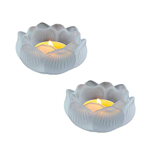 RICHEE-NL Colored Glaze Lotus Lamp Holder 3.54 in Candlestick Décor (Flog White2)