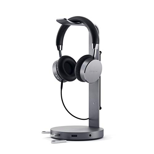 Satechi Aluminum USB Headphone Stand Holder with 3 USB 3.0 Ports & 3.5mm AUX Port - Universal Fit - Compatible with Satechi, Bose, Sony, Panasonic, JBL, AKG (V2, Space Gray)
