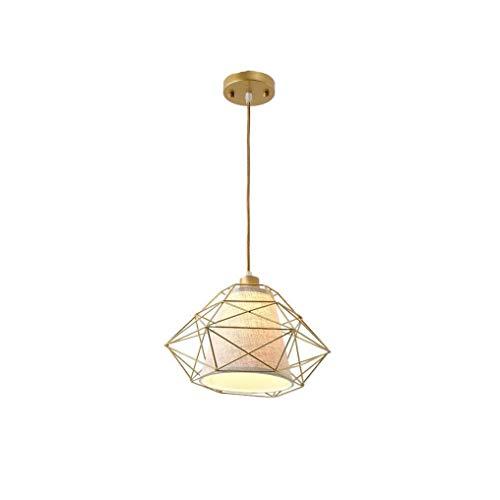 Sebasty Lámpara Colgante Moderna Forma De Diamante Decoración De Marco De Jaula De Metal Lámpara Colgante Pantalla De Tela Blanca Personalidad Lámpara Colgante Creativa Altura Ajustable E27 Max 60W Lo