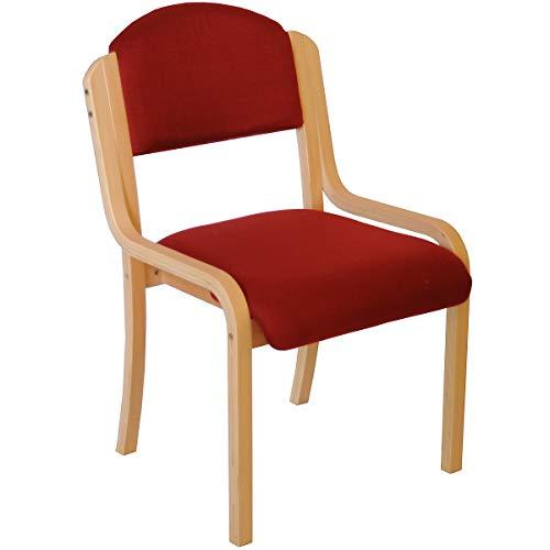 Chaise empilable Devon sans accoudoirs, coloris bordeaux - fauteuil pour salle d'attente à piétement bois - Chaise visiteur rembourrée