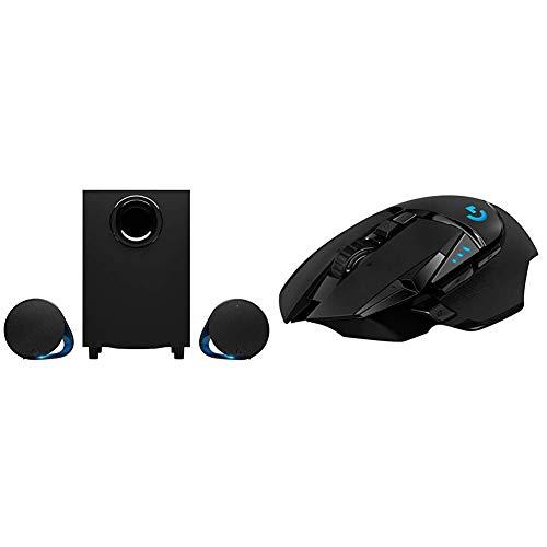 Logitech G560 PC-Gaming-Lautsprecher mit DTS:X Ultra Surround Sound, Spielbasierter RGB-Beleuchtung + Logitech G502 Lightspeed kabellose Gaming-Maus, Hero 16000 DPI Sensor, Wireless Verbindung