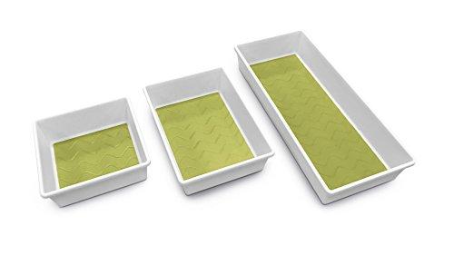 Addis, scatole porta oggetti, di alta qualità, con base morbida, per riordinare il cassetto, plastica, White/Green, 18 x 40 x 7.5 cm