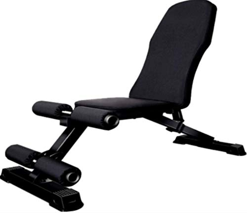 HUJPI verstellbare Sit-Up-Bank, Klappbar Hantelbank höhenverstellbar Trainingsbank mit hochwertigem dickem Polster/Rückenlehne für Ganzkörpertraining,Black