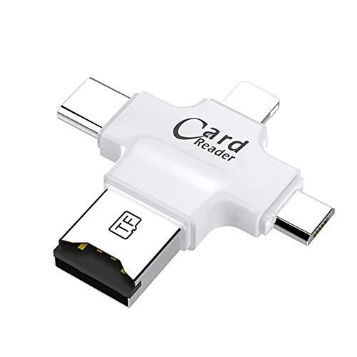 Lector de tarjetas de memoria, adaptador de tarjeta Micro SD 4 en 1 con puerto USB tipo C OTG HUB adaptador para iPhone/Android Phones/PC (blanco)