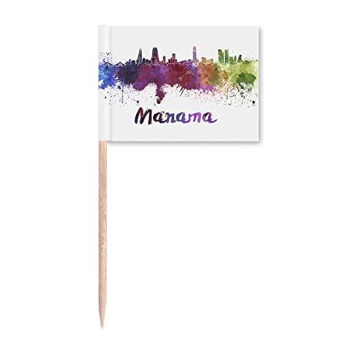 Manama Bahrain City Aquarell Zahnstocher Flaggen Marker Topper Party Dekoration
