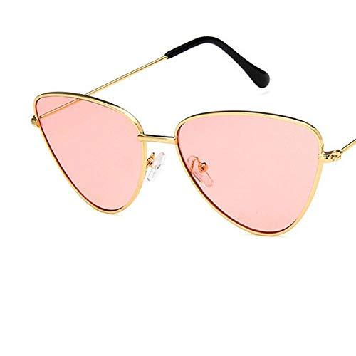 Lunettes de Soleil Sunglasses Fashion Sexy Pink Lady Metal Cat Eye Sunglasses Premium Vintage Men Classic Ocean Sunglasses Gold