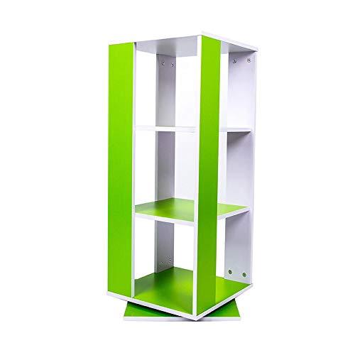 JCNFA Planken Roterende Boekenplank Vloer Rek DIY Kast Organizer Moderne Industriële Boekenplank Opbergdoos, Home Office 15.74 * 15.74 * 35.43in Groen