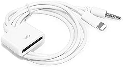30 Pin Adapter | 8 Pin Male to 30 Pin Female | Works with Smartphones, Cars, Docking Stations and More White- 20cm
