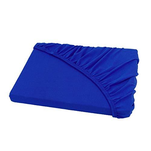 Spannbettlaken für Wasserbetten und Boxspringbetten/Jersey Spannbetttuch 200 x 220 cm in royal/königsblau
