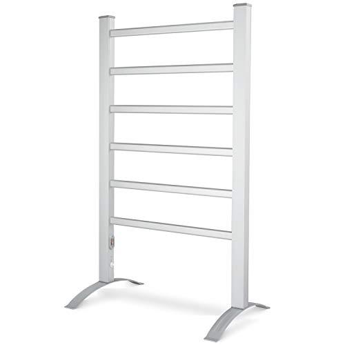 DAILYLIFE Towel Warmer, 6 Bar 90W 2-in-1 Freestanding & Wall Mounted Heated Drying Rack, Aluminum Frame Home Bathroom Space Saving