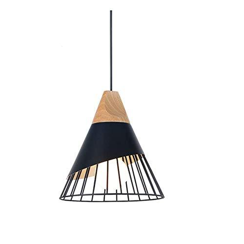 * Hanglamp plafondlamp kroonluchter aluminium houten kooi creatieve kegel moderne verlichting binnenverlichting wit zwart IKEA restaurant woonkamer slaapkamer studeeringang, zwart