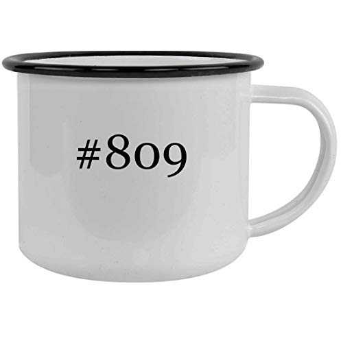 #809-12oz Hashtag Stainless Steel Camping Mug, Black