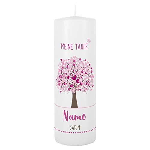 Striefchen® Taufkerze 250/80 mm mit Lebensbaum und Aufdruck des Namen und Datum sowie Taufspruch Weiß - Rosa