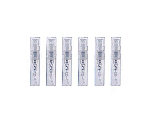 6 unidades de botellas transparentes portátiles rellenables vacías de cristal para perfume, spray para maquillaje, agua, atomizador, recipiente de almacenamiento (2 ml)