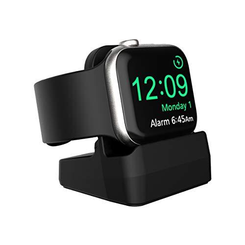 SPORTLINK Support Apple Watch Station de Chargement pour Apple Watch Series 6 / SE/Series 5 / Série 4 / Série 3 / Série 2 / Série 1 / 44mm, 42mm, 40m, 38mm - Compatible avec Night-Stand Mode (Noir)