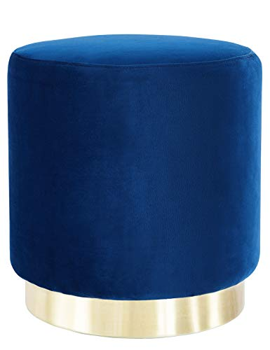 Reposapiés Puff Baúl Redondo Taburete de Terciopelo Asiento Otomana Patas de Metal Maciza Asiento Elegante Moderno para Dormitorio y salón Azul