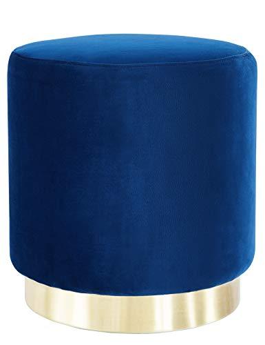 Suhu Pouf Puff Sgabello Poggiapiedi in Velluto Rotondo Base Dorata Moderno Basso Design Blu