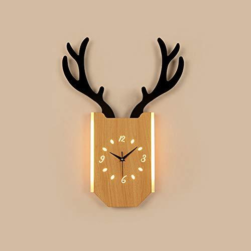 Yangmanini LED Asta Reloj Lámpara De Pared Pasillo Pasillo Comedor Sala De Estar Estudio Estudio Escaleras Balcón Madera Acrílico Caliente Luz Amarilla Moderno Simple (Color : Brown)