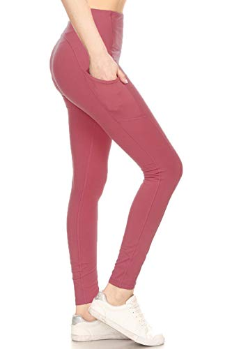 Leggings Depot YL7A-CORAL-M High Waisted Athletic Side Pockets Yoga Pants-Coral, Medium
