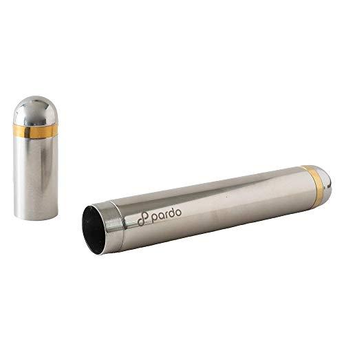 Pardo Cigar Tube - Stainless Steel PortableTravel Case - Large Ring Gauge Cigars (Silver)