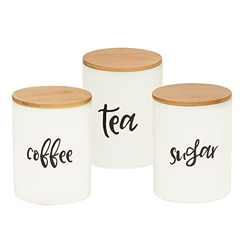 Kitchen Food Storage Ceramic Canister,Airtight Ceramic Canisters with bamboo Lid,For Coffee, Sugar,Tea Storage Containers 24.68 FL OZ (730 ML),Set of 3