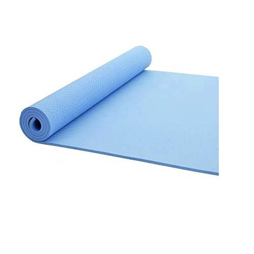 aoligei Yogamatte Doppel TPE Einfarbig Verdickung Verbreiterung Fitnessmatte Anti-Rutsch Dance Yoga Matte, blau