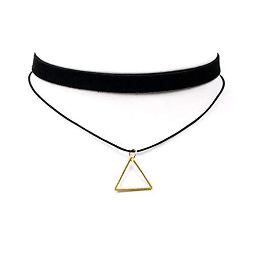 ALOHAMONI (アロハモニ) トライアングル チョーカー ネックレス 三角 モチーフ チャーム レザー ベロア 2連 二連 並行 デザイン リング 首輪 革 ひも 長さ30-37cm 調整可能 ブラックxゴールド ブラックxシルバー (ゴールド)