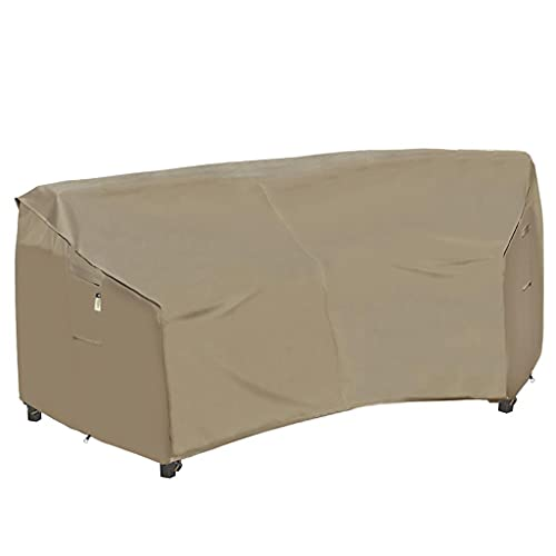 Garden Furniture Cover, Heavy Duty Patio Furniture Covers Waterproof 600D Oxford Sectional Couch Rattan Corner Sofa Table Chair Protection, Curved Lawn Winter Protector, 250 x 89CM - Desert Khaki
