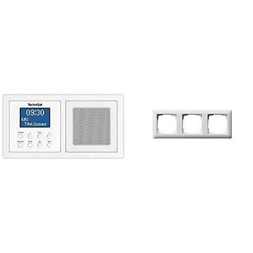 TechniSat DIGITRADIO UP 1 - DAB+ Unterputzradio zur Anbringung in jeder Doppel Unterputzdose (DAB, UKW, Bluetooth, dimmbares LCD-Display weiß & Gira Rahmen 021304 3fach Standard 55 reinweiss matt
