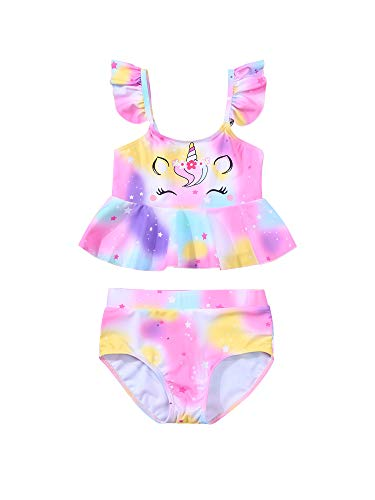 2PCS Summer Beach Toddler Kids Baby Girls Swimming Costume Outfits short Sleeveless bathing Unicorn Mermaid tail Dresses trunks bikini Clothes Set Suit for 3-8 Years (Multicolor , 7-8 Years )
