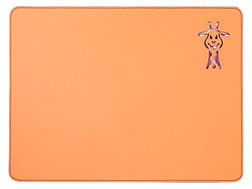Nikalaz Set de Table, Rectangle, Pour Les Enfants, en Cuir Naturel Recyclé, Stylisée avec une Girafe au Laser, 40 x 30 cm (ORANGE)
