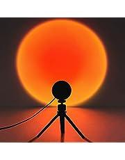 Sunset lamp, Sunset projector, led-projectielamp zonsondergang, rood licht, net, modern USB-nachtlampje, vloerlamp met 180 graden rotatie voor woonkamer, slaapkamer, decoratie (Rainbow)
