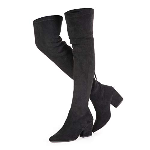 Mtzyoa Thigh High Block Heel Boot Women Pointed Toe Stretch Over The Knee Boots Black
