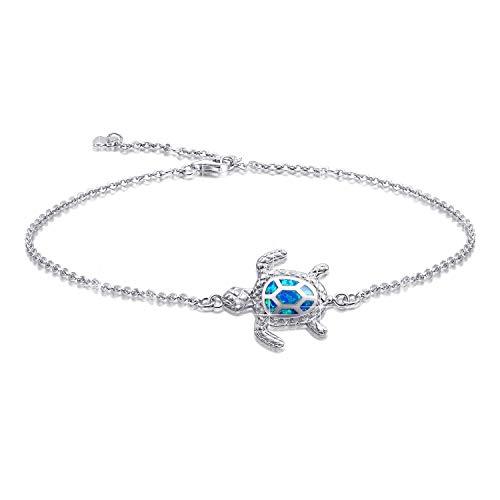 Tobillera de ópalo azul con forma de tortuga, tobillera de plata de ley joyería para mujeres regalos, tobillera ajustable (pulsera grande)
