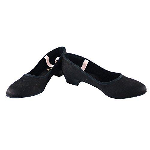 Danzcue Adult Canvas Elastic Strap Character Teacher Shoes, Black, 7.5 M