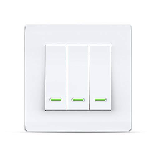 Interruptor de luz inteligente Alexa, interruptor pared con WiFi, mando a distancia y temporizador, Alexa Echo, compatible Google Home, no requiere hub (3 velocidades)