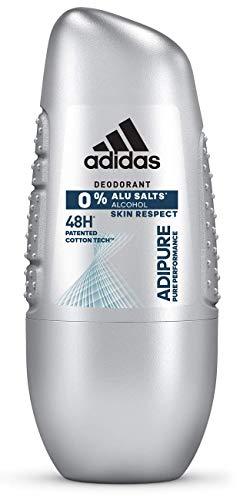 Adidas Adipure Deo Roll-on voor heren, deodorant, zonder aluminium en alcohol, voor 48 uur effectieve deo-bescherming, pH-huidvriendelijk, 1 x 50 ml