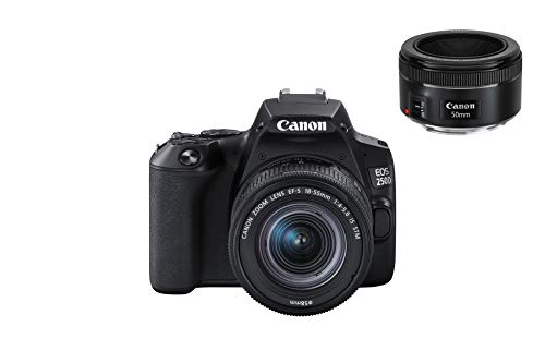 """Canon EOS 250D - Fotocamera digitale con obiettivi EF-S 18-55mm F4-5.6 IS STM + EF 50mm F1.8 STM (24,1 MP, 7,7 cm (3""""), display Vari-Angle APS-C, 4K, Full HD, DIGIC 8, WLAN, Bluetooth), colore: Nero"""