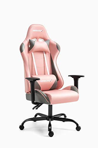 AMINITURE Gaming Chair Racing Style Office Computer Game Chair Adjustable Backrest and Seat Height Swivel Recliner Chair E-Sports Chair with Headrest and Lumbar Support (Pink&Grey)