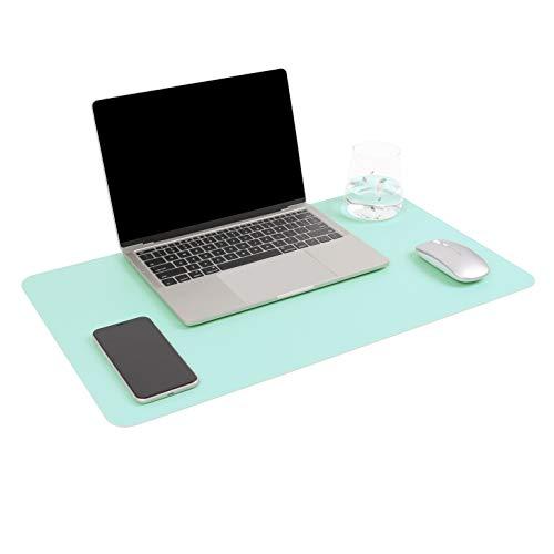 YSAGI Multifunktionale Schreibtischunterlage, ultradünn, wasserdicht, PU-Leder, Mauspad, zweiseitig nutzbar, für Büro/Zuhause, Himmelblau + Mintgrün, 60 * 35 cm