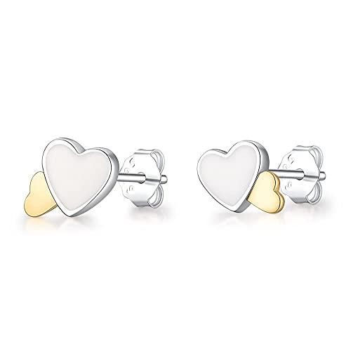 XAOQW 925 Pendientes de Plata esterlina 9 Pendientes de Estilo Flor Butterfly Heart Wings Pendientes de Perla para la Fiesta de Bodas de Las Mujeres Jewelry-LEC006