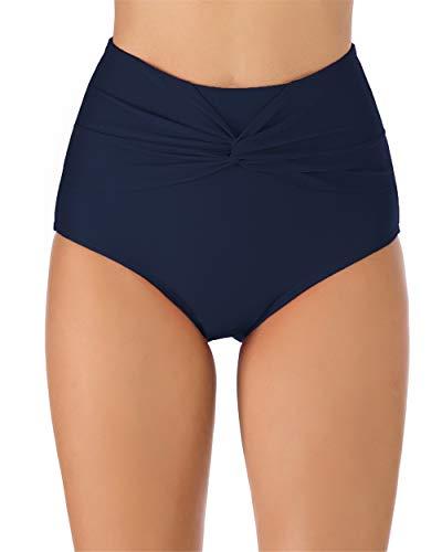 PANAX Damen Hoche Taille Umschlag Badehose Tankini Bottom mit elastischem Material Marine, Größe M