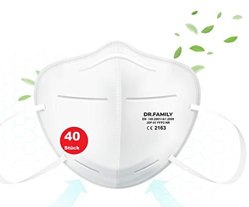 HHW Pro FFP2 Maske Atemschutzmaske Partikelfiltermaske EU CE Zertifiziert CE2163 EN 149:2001+A1:2009- Einzel Verpackt 40 Stück