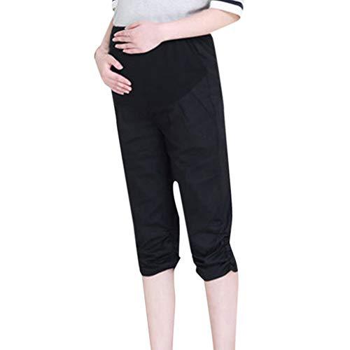 Ulanda-EU Damen Umstandsmode Hohe Taillen Hose Freizeithose 3/4 Umstandsleggings für Frauen Maternity Komfortable Elastische Bund Capri Schwangerschaftshose Größen L-5XL