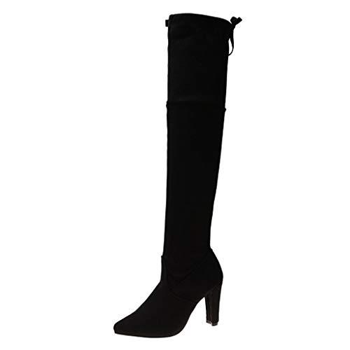 POLP Botas Mujer Tacon Invierno Clásicas Casual Botas hasta la rodilla Zapatos de Tacón de 9 cm con Cordones