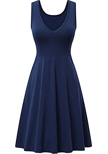 Sweetop Vestidos de playa para mujer para las mujeres vestidos bonitos para las mujeres vestido casual de verano de mujer color liso vestido Swing A Line Midi Tank azul navy XXL