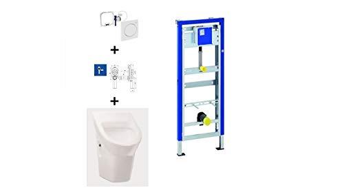 Geberit Duofix Basic Urinal Element + Urinal + Drückerplatte Samba Komplett-Set Ohne Deckel