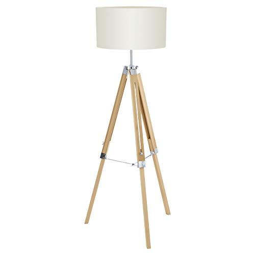 EGLO Stehlampe Lantada, 1 flammige Stehleuchte Vintage, Standleuchte aus Holz, Stahl und Textil, Wohnzimmerlampe in Natur und Beige, Lampe mit Schalter, E27 Fassung