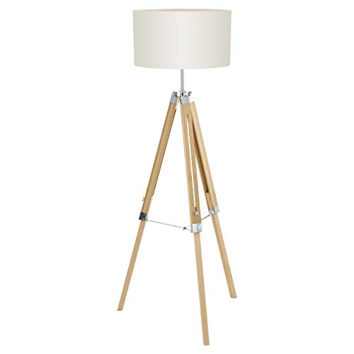 EGLO 94324 A++ tot E, staande lamp, hout, E27, natuur/beige, 70 x 70 x 150 cm