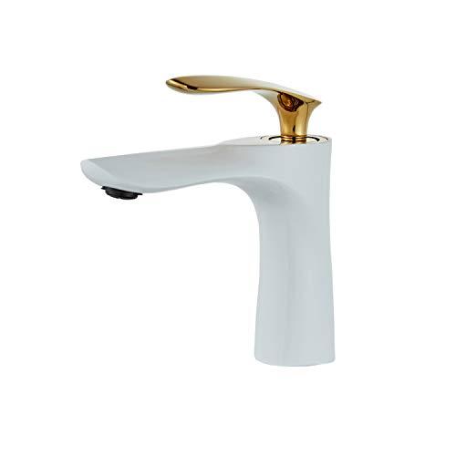 Waschtischarmatur Gold Weiß Waschbecken Wasserhahn Messing Einhand Leekayer